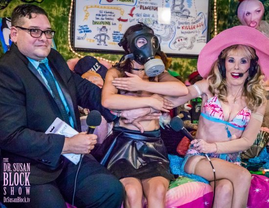 Manny & GasMaskGirl Coralee Summers: Too HOT for Facebook Live. Photo: Jux Lii