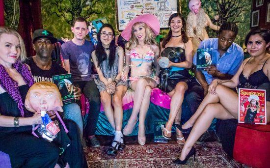 Shana Lay gaging Drumpf, Ikkor the Wolf, Luzer Twersky, Eva Yi, Dr. Suzy, GasMaskGirl Coralee Summers, LaMar D. Sol, Larissa. Photo: Jux Lii