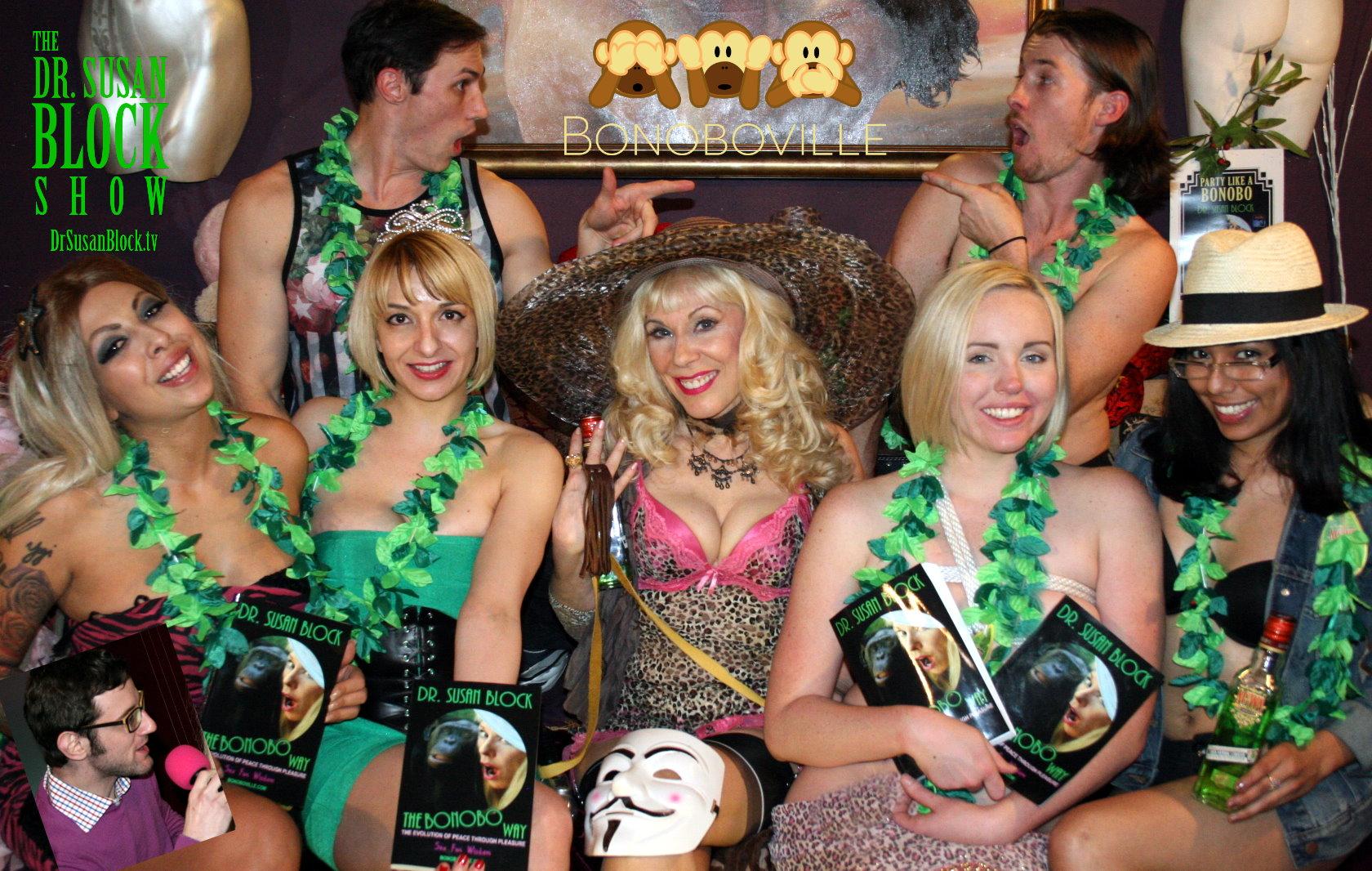 Luzer Twersky, Jessica Shores, Rainey Lane, Dr. Susan Block with Juxleather finger flogger, Miley May, Goddess Maya with Agwa. Row 2: Brett Ravage, Dark Phoenix.