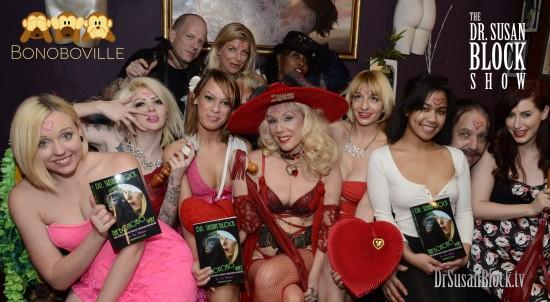 Valentine Lupercalia Bacchanalia 2015: Miley May, Amor Hilton, Haley Sweet, Dr. Susan Block, Rainey Lane, Loni Legend, Ron Jeremy, Charli Piper. Row 2: Jux Lii of Jux Leather, Chelsea Raw, Pussy Peddla. Photo: Irwin J