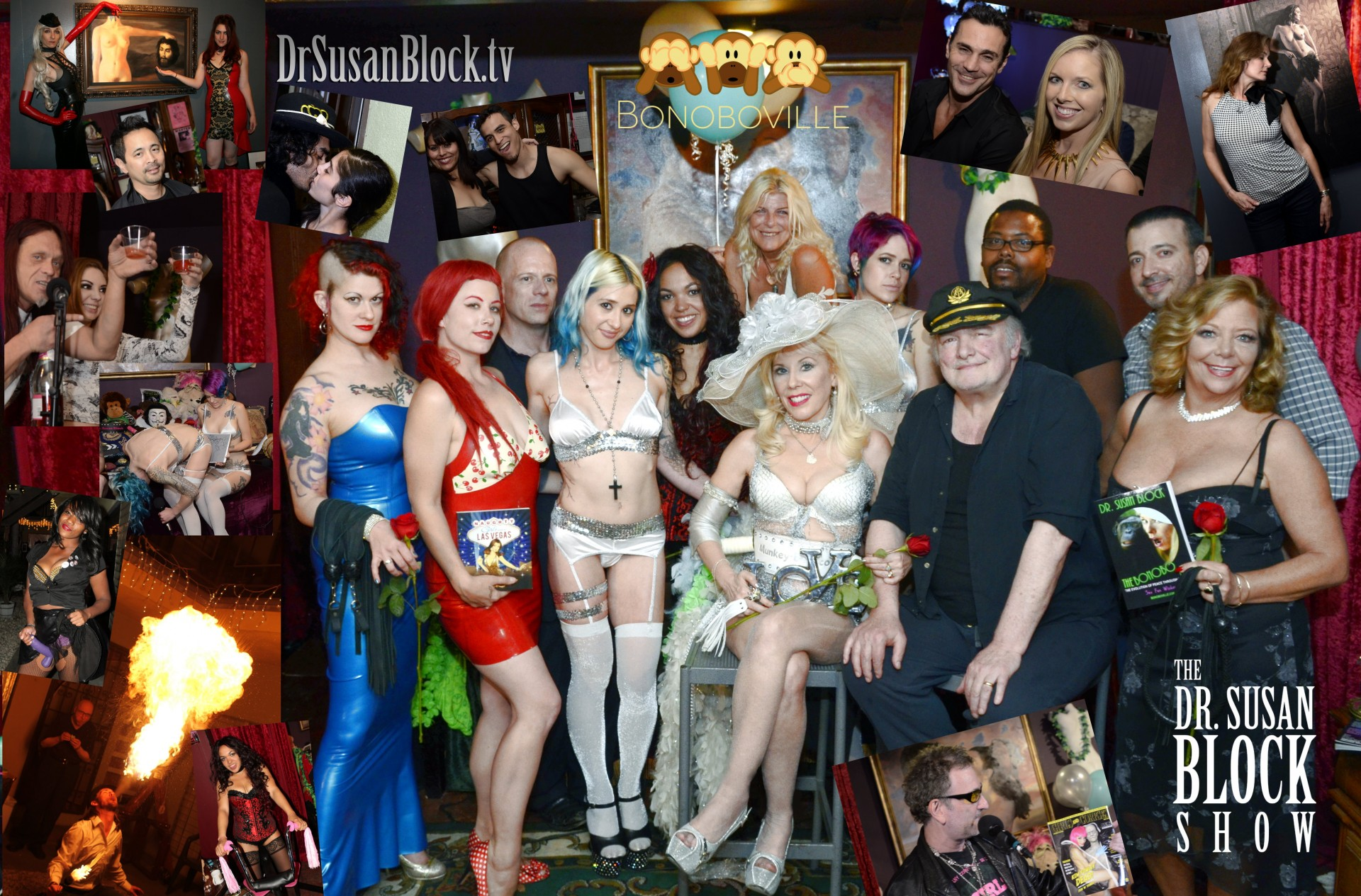 Dr. Suzy & Pr. Max's 23rd Wedding Anniversary (main photo): Goddess Soma Snakeoil, Deanna Deadly, Catherine Imperio, Dr. Susan Block, Pr. Maximillian R. Lobkowicz, Karen Summer with The Bonobo Way. Row 2: Jux Lii, Aaliyah Corsets, Chelsea Raw, Samantha Fairley, Dr. Mars. Inserts from lower left: Mad X Bike, Dark Phoenix, Citizen LA's George Stiehl, Trixie Plenty, Unlicensed Pros, Murrugun the Mystic & Kiki Daire, Anthony Winn, Stacey Dee & Danica W., Keerthi & Nisreen, Lisa V, Hollywood Jake, Keith C, Sienna Sinclaire, Lisa Anne Davis, Corpsy with Girls & Corpses cover featuring Kim Fowley. Photo: Iriwn
