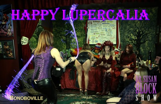 Happy Lupercalia from Bonoboville featuring Goddess Phoenix & her Fiber-Optic Floggers + Ms. Joy Luck's heart-shaped ass live on DrSuzy-Tv. Photo: B Natural