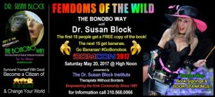 """Dr. Susan Block's  """"FemDoms of the Wild: The Bonobo Way"""" bound for DOMCON 2017"""