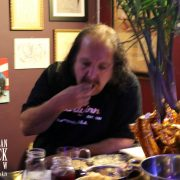 Ron eats some appetizers
