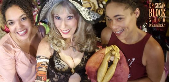 Lipstick Lesbians Aaliyah & Jackie celebrate Labia Day 2018 in Bonoboville with the Wondrous Vulva Puppet. Photo: Selfie