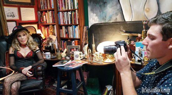 Double-Tasking Matt Pegan interviews me as he films. Photo: Mar