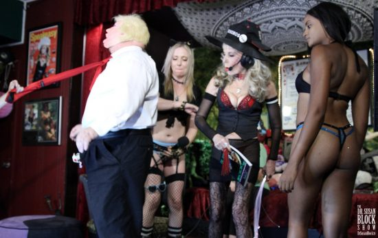 Spanking Trump's rump with The Bonobo Way. Photo: Slick Rick