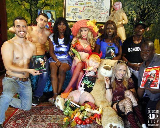 Handsome Hollywood Jake, Andy tha Gypsy, Lexxy, Dr. Suzy, Trump Toadstool and the Russian Bear, Minnah Mac, Blossom Green, Ikkor the Wolf, Isaac. Photo: Abe