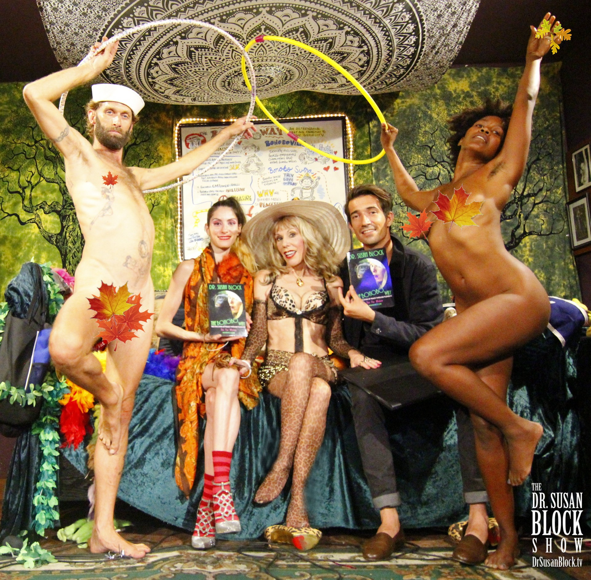 Happy Erotic Autumnal Equinox from The Dr. Susan Block Show: Chef Be*Live, Madame Margherite, Dr. Suzy, Sebastian Walker, Daniele Watts. Photo: Abe Bonobo