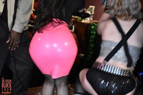 Goddess Virgin's pink latex bottom rocks out. Photo: Wicked Way Beats