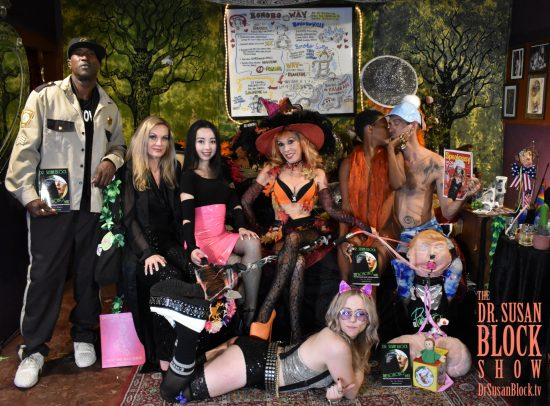Happy Hallowe'en from BOOnoBOOville! Ikkor the Wolf, Goddess Stella Sol, Goddess Virgin, Dr. Susan Block, Daniele Watts, Chef BeLiVE, Blossom Green. Photo: Wicked Way Beats