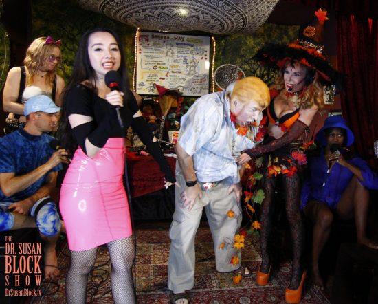 Goddess Virgin laughs derisvely as I reveal Trumpty Dumpty's shortcomings. Photo: Onyx