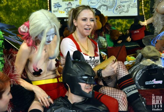 Batman and Two Harley Quinns prepare the Motobunny Batmobile for Takeoff. Photo: Hugo Flores