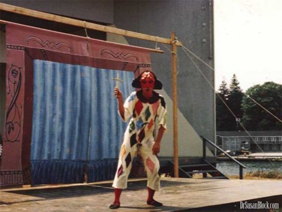 "22-year-old me as Arlecchino in a New England Commedia performance of ""Plastic Cash"" in Westport, Conn."