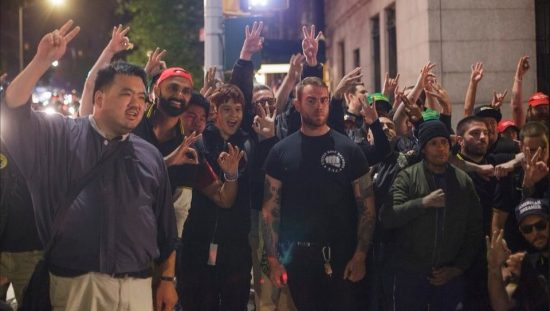 "Proud Boys flashing White Power signs (even though many are not exactly ""white"") after beating up AntiFa in New York"