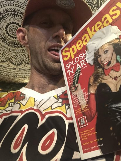 Chef Be*Live poses with the Speakeasy Journal, featuring him and Daniele! Photo: Be*Live