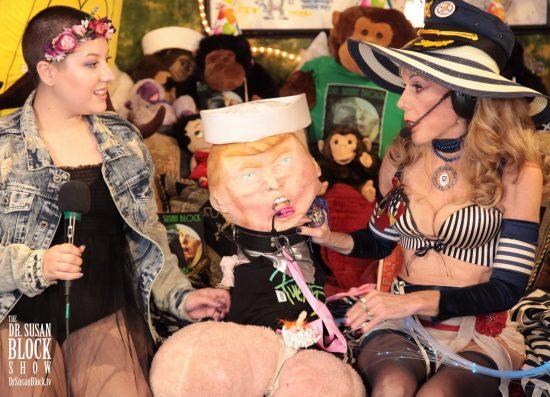 She God looks disdainfully at the Trumpus' teeny peepee. Photo: Hef