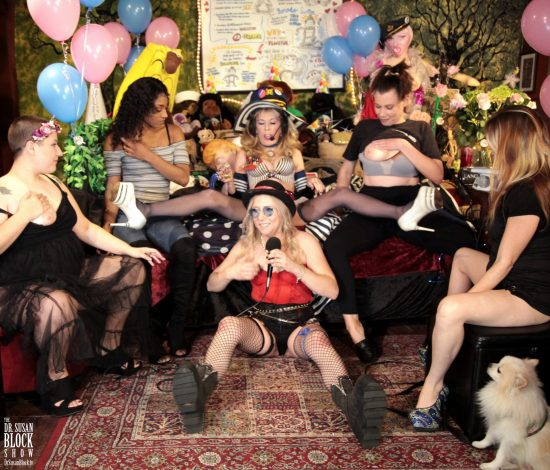 Five Altar Girls & One Altar Pup assume the position for Waterboarding the Birthday Girl. Photo: Hef