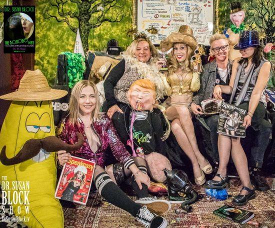 The SUZYs 2018: Mr. Banana, Blossom, Ana, gagged tRUMP, Dr. Suzy, Clemmy, Onyx Photo: Jux Lii