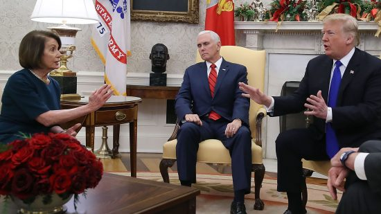 Pence takes a nap during Pelosi's meeting with Trump... Or maybe he just refuses to look at an unchaperoned woman!