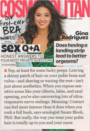 Dr. Suzy Answers 'Does Having a Landing Strip Lead to Better Orgasms?' in Cosmo's February 2019 Issue