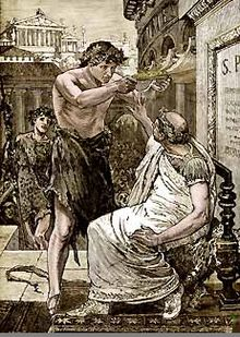 Julius Caesar turns down the crown that Marc Anthony presents to him at the Lupercalia... at first