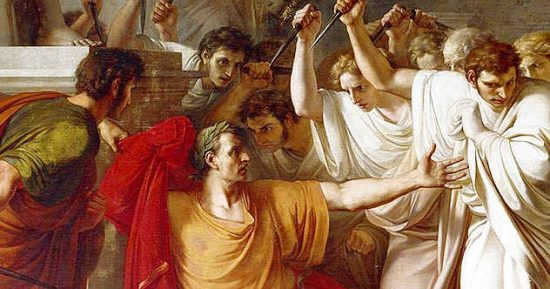 Caesar is assassinated in an all-male gang-bang with no sex (though several of these men wished to have sex with Caesar) and buckets of blood which may never wash away.