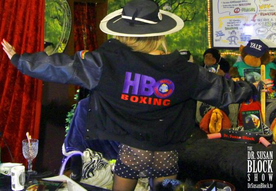 """When my HBO special producer Sheila Nevins realized they didn't have an """"HBO Sex"""" jacket, she gave me this HBO Boxing jacket... which is pretty cool (though I'm not exactly a boxing fan). Photo: Onyx Devall"""