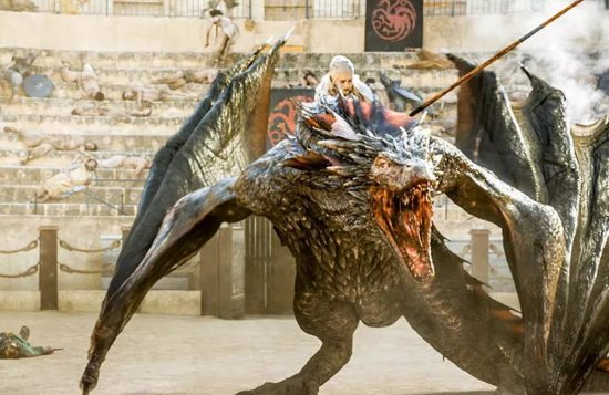 The Queen mounts the Dragon, surrounded by freshly murdered humans in Game of Thrones' fantasy blood fest.